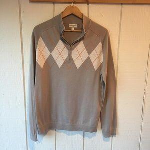 Banana Republic Men's argyle 1/4 zip sweater sz L